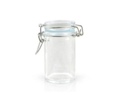 Glass Apothecary Style Jar with Hinged-Seal Top