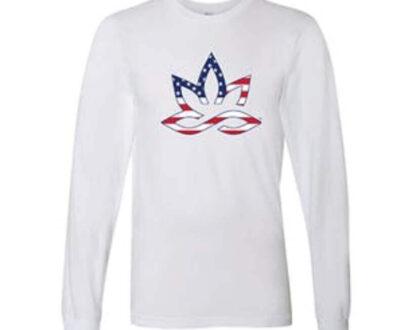 420 HPC- Hueneme patient collective patriotic white long sleeve shirt medium
